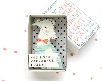 De Instant Comfort Pocket Box - greyhound hond - je ziet er geweldig vandaag! -cheer doos - bericht in een doos - motiveren cadeau