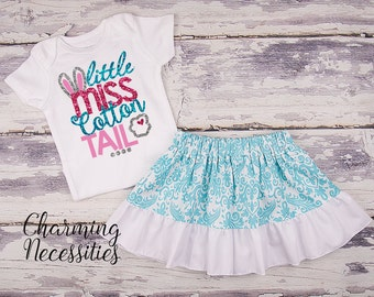 Baby Girl Easter Outfit, Baby Girl Clothes, Toddler Girl Clothes, Glitter Top Ruffled Twirl Skirt, Little Miss Cotton Tail Aqua Damask Set