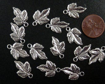 CLEARANCE Jewelry Leaf Charms 14 Silver 20mm long (1012chm78s1-N)os