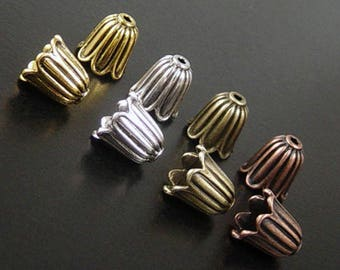 Bead Cap 10 COLOR CHOICE Antique Silver Bronze Gold Copper Flower Cone 10mm x 10mm NF (1139cap10m1)