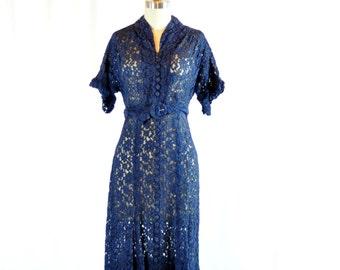 "Vintage 1940s Dress   Navy Sheer Lace   28"" Waist"