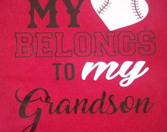My heart belongs to my grandson/granddaughter baseball/softball tshirt