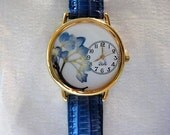 Women's Watch with Hydrangea, Blue Hydrangea Watch, Pressed Flower Watch, Hydrangea Watch, Gardening Watch, Jeans Watch,Watch for Women