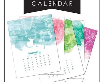 2017 Calendar, Wall Calendar, Desk Calendar, Watercolor Rabbit Calendar