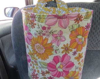 Trash Bin, Car Trash Bag, Cute Car Accessories, Headrest Bag, Trash Container, Pink, Yellow, and Orange Flowers
