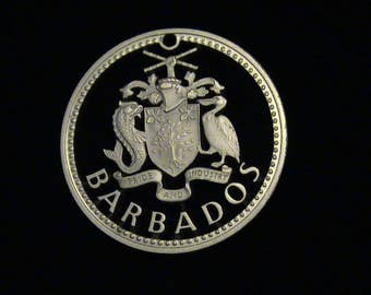 BARBADOS - cut coin jewelry - Coat of Arms - SILVER - LARGE - FiRST TiME Cut!!!
