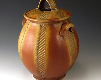 Pottery, Handmade, Red Glazed, Stoneware, Jar With Carved Chevrons and Deep Oak Leaf Stamps