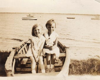 Original Vintage Photograph Snapshot Cute Girls Sisters? In Row Boat 1920s-30s