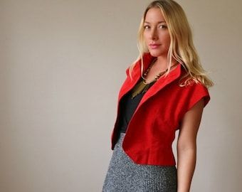 ON SALE 1970s Halston Red Jacket >>> Size Small to Medium
