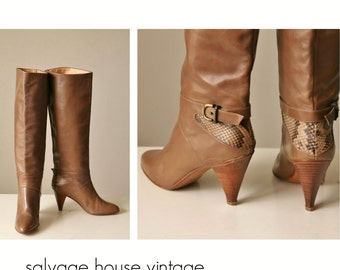 1980s Joan & David Couture Snakeskin Boots >>> Size 5-1/2 (5.5) to 6