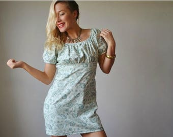 SPRING SALE 1970s Moss Mini Dress~Size Extra Small to Small