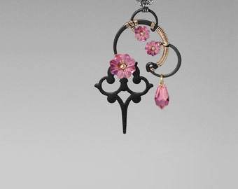 Steampunk Pendant with Pink Swarovski Crystals, Swarovski Necklace, Rose Swarovski , Pink Pendant, Statement Jewelry, Artemis v4