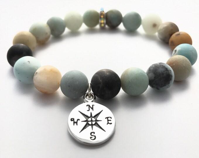 matte amazonite gemstone mala bracelet with true north compass wanderlust charm, yoga jewelry, stretch bracelet, charm bracelet, compass