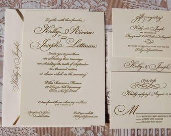 Letterpress Invitation DEPOSIT, Wedding Invitation, Traditional Wedding Invitation, Invitation Suite, Gold Invitation, Custom Invitation