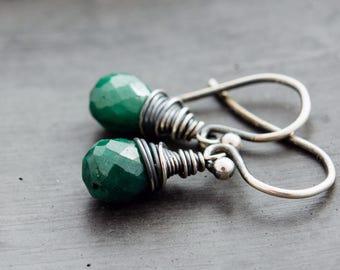 Emerald Earrings, Drop Earrings, Dangle Earrings, Wire Wrapped, Sterling Silver, May Birthstone, Emerald Green, Birthstone Jewelry, PoleStar