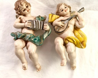 Vintage cherub angel putti pair of two made in italy playing musical instuments