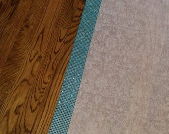 FREE RUSH SPECIAL Wedding Aisle Runner with Blue Turquoise Rhinestone Border