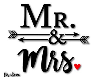 Mr. & Mrs. with Arrows Ampersand Wedding Shower Gift - SVG, EPS, dxf, png, jpg digital cut file for Silhouette or Cricut