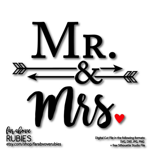 Welcome To Mr Hardison S Page: Mr. & Mrs. With Arrows Ampersand Wedding Shower Gift SVG