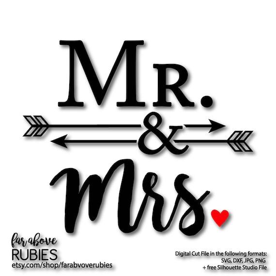 Mr Amp Mrs With Arrows Ampersand Wedding Shower Gift Svg