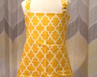 Mustard Yellow Quatrefoils Girls Kitchen Apron - FREE or PRIORITY Shipping