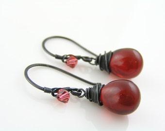 Red Earrings, Wire Wrapped Earrings, Czech Glass Red Teardrop Earrings, Wire Wrapped Ear Wires, Red and Black Earrings, Pierced Earrings