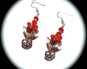 Red Crystals and Hearts  Long Dangle Fashion Earrings for Every Day Wear boho gypsy native spring summer cottage chic   African native