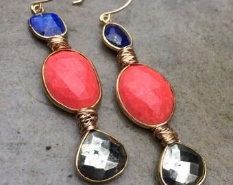 Lapis Coral Pytite Earrings
