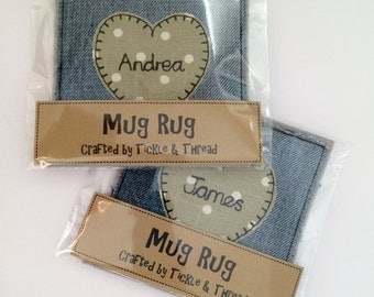 Denim & Polka Dot Mug Rug - TEA or COFFEE