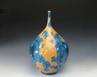 Blue and Yellow Crystalline Teardrop Vase