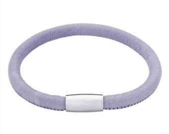 25% OFF Pastel Lavender Italian Leather Bracelet with Magnetic Clasp, Size 7.5, Gift for Her