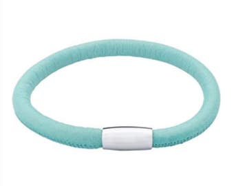 25% OFF Pastel Turquoise Italian Leather Bracelet with Magnetic Clasp, Gift for Her