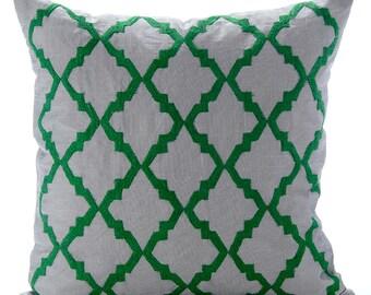 """Designer Grey Pillow Covers, 16""""x16"""" Linen Pillows Cover, Square Green Embroidered Pillows Cover - Green Parade"""