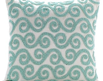 """Designer Beaded Cushion Covers, 16""""x16"""" Silk Pillowcase, Square Mint Blue Embroidery Pillow Cover - Mint Blue Trail"""