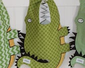 Polka dot Animal shaped Baby/Toddler bib, Garth the Gator (12-24 month) alligator bib