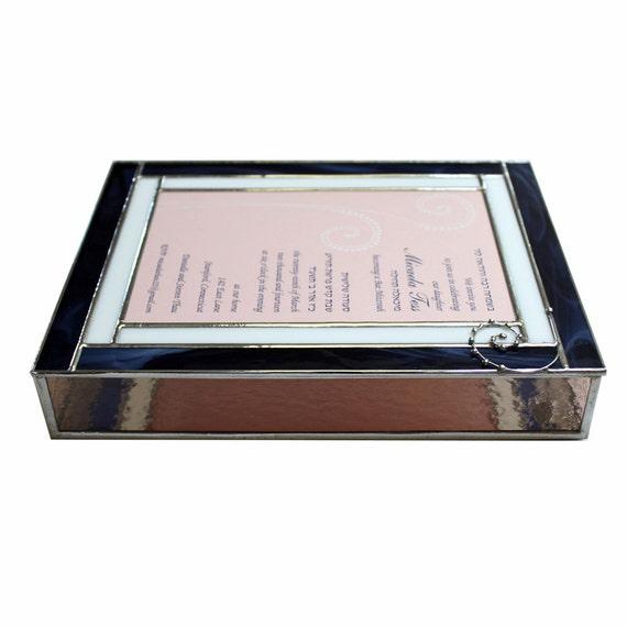 Keepsake Stained Glass Bat Mitzvah Invitation Box With Metal Decoration