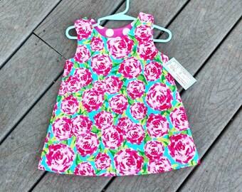 Shift Dress - Rose Dress - Reversible Dress - Girls Beach Dress  - Girls Spring Dress- Birthday Dress - Groovy Gurlz