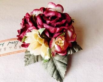 Dark Cherry Merlot red Vanilla daisy Roses Mixed bunch Vintage style Millinery Flower spray Bouquet corsage