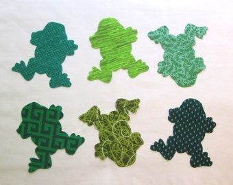 Set of 6 Green Frog Iron-on Cotton Fabric Appliques for Quilts Apparel Etc