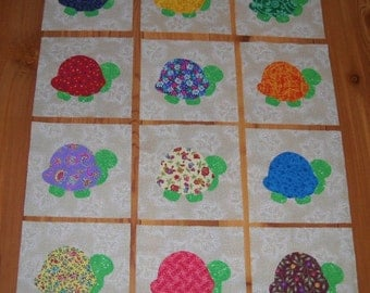 Set of 12 Iron-on Bright Turtle Cotton Fabric Appliques for Quilts Apparel Etc.