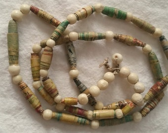 Rolled Paper Bead Necklace Boho handmade vintage beads, OOAK single strand long kitsch jewelry