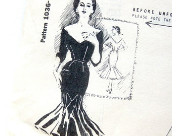 Jo Copeland Party Goer Dress Pattern - Spadea 1036 - Cocktail Dress / Vintage Sewing Pattern / Size 10 Original Folds