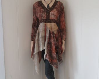 Boho Tattered Gypsy Tunic Chiffon Distressed Dyed Rust with Vintage Lace Beads & Flower Sequins One Size Fits S - L