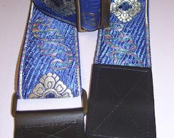 Royal Blue & Metallic Gold Embroidered Trim GUITAR STRAP
