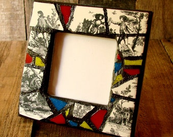 Mosaic Frame - Cottage Chic Mosaic Art - Boho Decor - Original Art Frame - Pottery Shard Mosaic - Black and White Frame with Red Blue Yellow