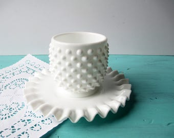Vintage Fenton Milk Glass Hobnail Jam Jar and Plate