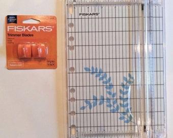 "Fiskars 9"" SureCut Paper Trimmer + 2 Extra Titanium TripleTrack Blades Jenuine Crafts"