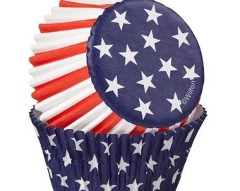 75 Red White and Blue USA Patriotic Flag Cupcake Wrappers Liners Baking Supplies Decorations Jenuine Crafts