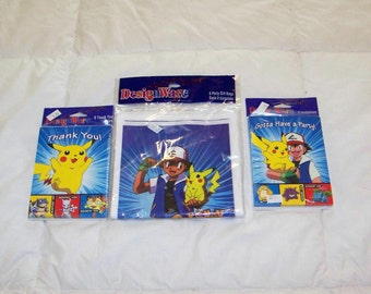 Eight Pokemon Party Invitations, Eight Pokemon Thank You Cards, And Eight Pokemon Party Bags.
