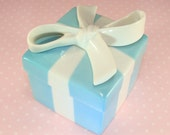Porcelain Tiffanys Box Blue with White Ribbon Trinket Box Small 2 Inch 1980s or 1990s Mint Condition Never Used Japan Sticker Tiffany Mark